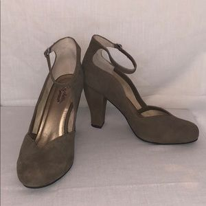 Tan ankle strap heels